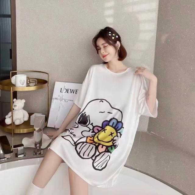 【Wonderland】睡衣 花朵狗狗裸感冰絲寬鬆大碼睡裙