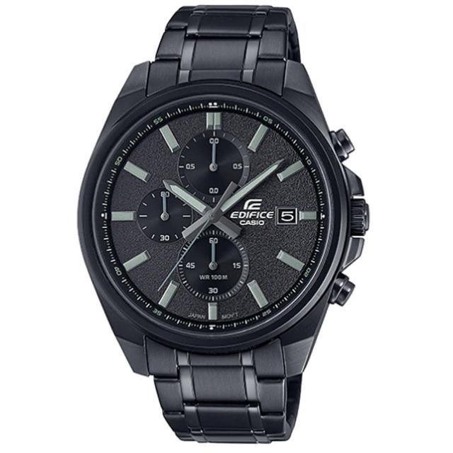 【CASIO 卡西歐】EDIFICE 經典三針三眼大錶面日期顯示不鏽鋼錶帶-黑(EFV-610DC-1A)
