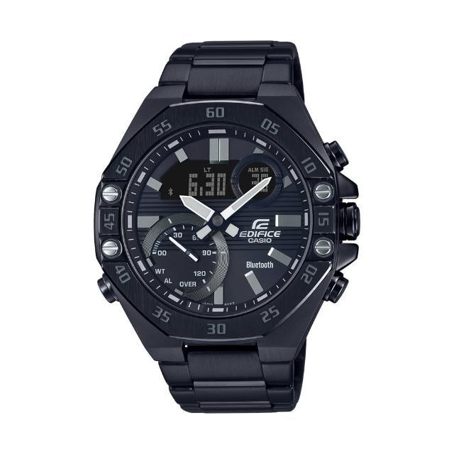 【CASIO 卡西歐】EDIFICE 酷黑八角形錶圈藍芽腕錶-黑(ECB-10DC-1A)
