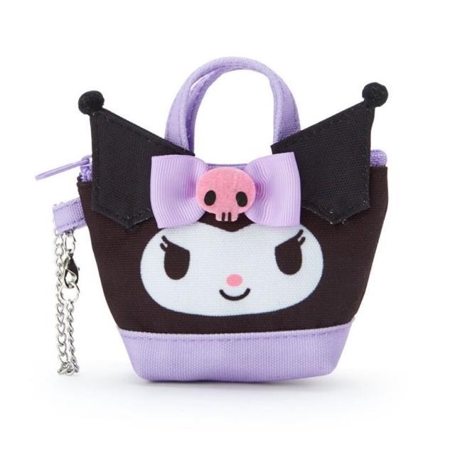 【小禮堂】酷洛米 造型帆布零錢包 掛飾零錢包 耳機包 鑰匙包 《紫 手提袋》
