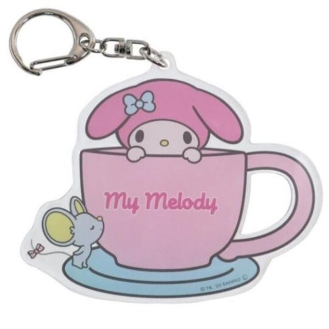 【小禮堂】美樂蒂 日製 造型壓克力鑰匙圈 透明鑰匙圈 壓克力吊飾 《粉 咖啡杯》