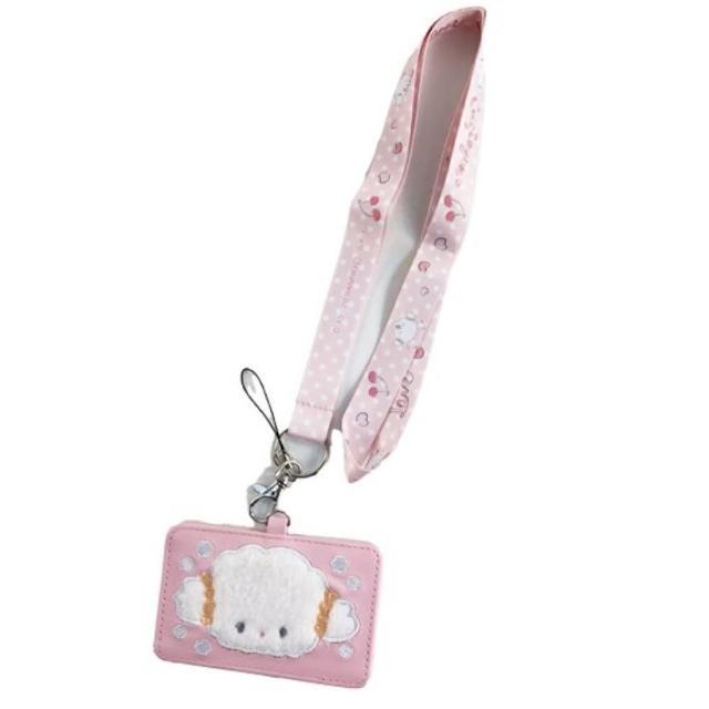 小禮堂【小禮堂】小麥粉 皮質票卡夾 附頸掛繩 證件掛套 車票夾 證件夾 《粉 大臉》