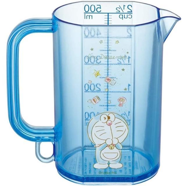 【小禮堂】哆啦A夢 日製 單耳塑膠量杯 透明量杯 烘焙量杯 500ml 《藍 眨眼》