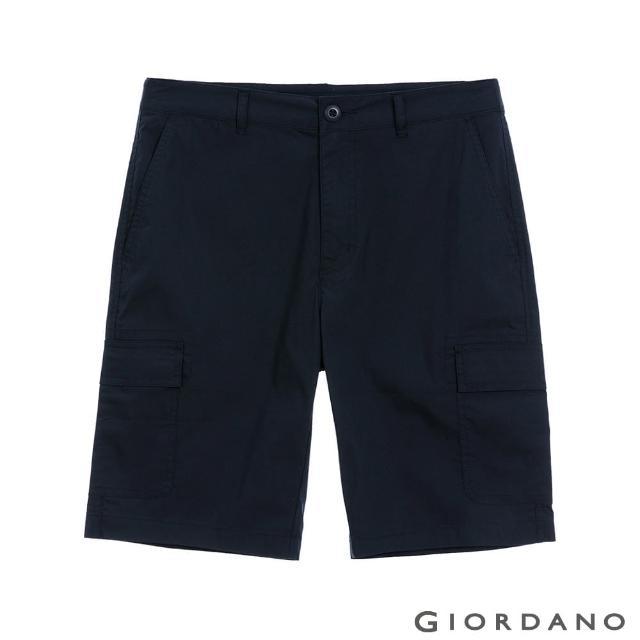 【GIORDANO 佐丹奴】男裝快乾涼感工裝卡其短褲(66 標誌海軍藍)