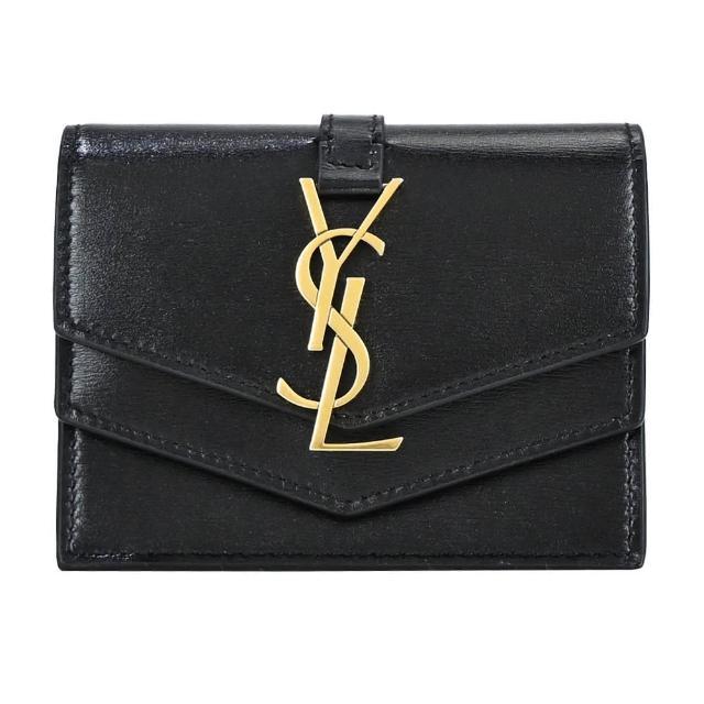 【YSL】SULPICE 絎縫小牛皮翻蓋牛皮卡片/零錢夾(黑)