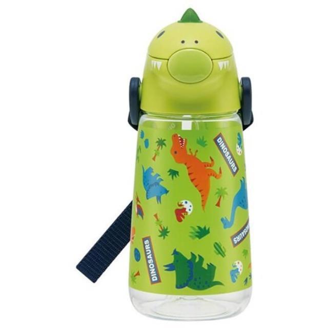 【小禮堂】恐龍 日製 造型蓋直飲式水壺 附背帶 塑膠水瓶 隨身瓶 420ml 《綠》