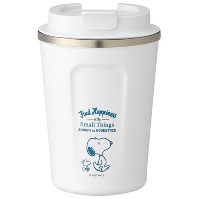 【小禮堂】史努比 不鏽鋼隨行杯 不鏽鋼隨手瓶 咖啡杯 保溫杯 350ml 《白 走路》