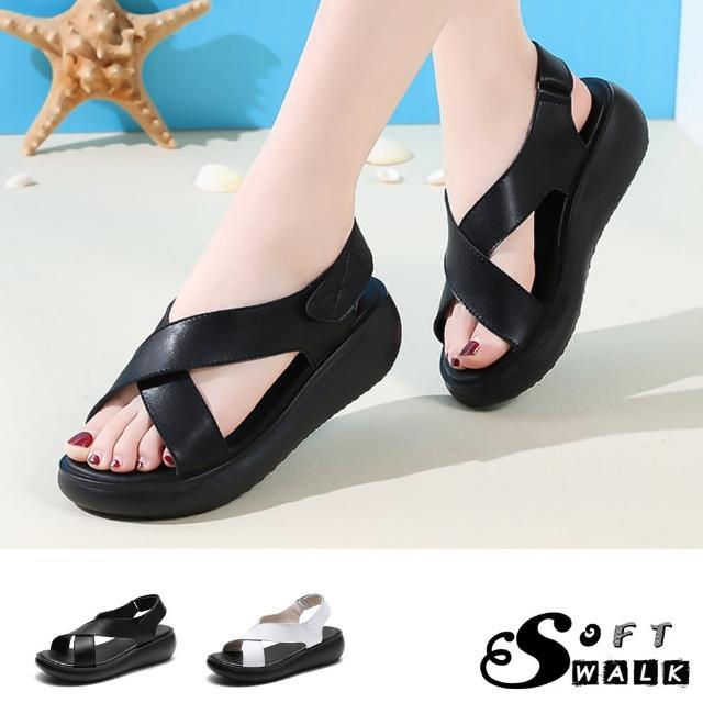 【SOFT WALK 舒步】真皮涼鞋 厚底涼鞋 交叉涼鞋/真皮經典交叉造型鬆糕厚底涼鞋(2色任選)