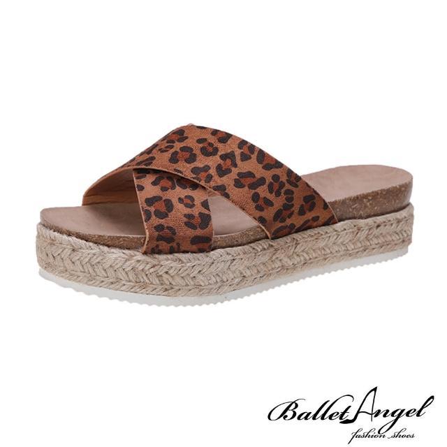 【BalletAngel】涼鞋 簡約交叉厚底楔型涼拖鞋(豹紋)