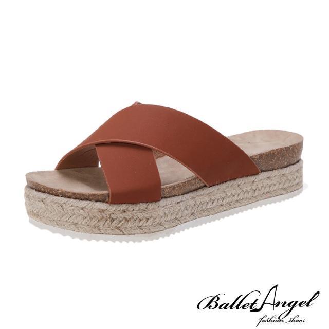 【BalletAngel】涼鞋 簡約交叉厚底楔型涼拖鞋(棕)