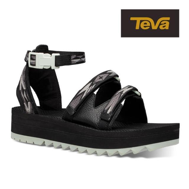 【TEVA】原廠貨 女 Midform Ceres 快扣織帶中底涼鞋/雨鞋/水鞋(雙黑彩鑽-TV1106991DDBC)