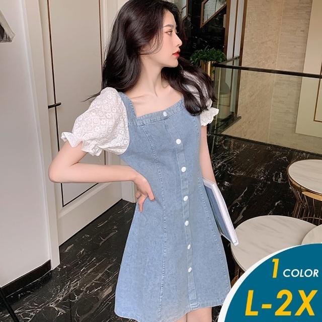【CHACO】/預購/ 韓系復古方領蕾絲泡泡袖中大碼牛仔連身裙#2031