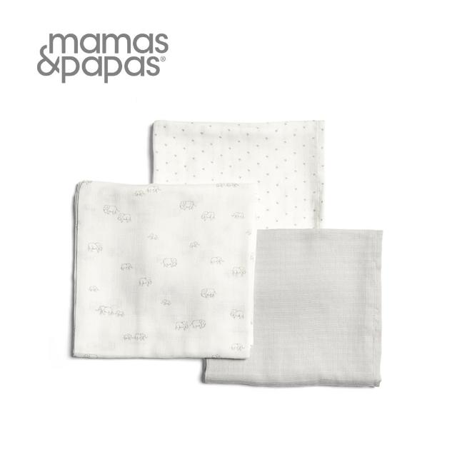 【Mamas & Papas】Muslin紗布巾組3入-小象家族