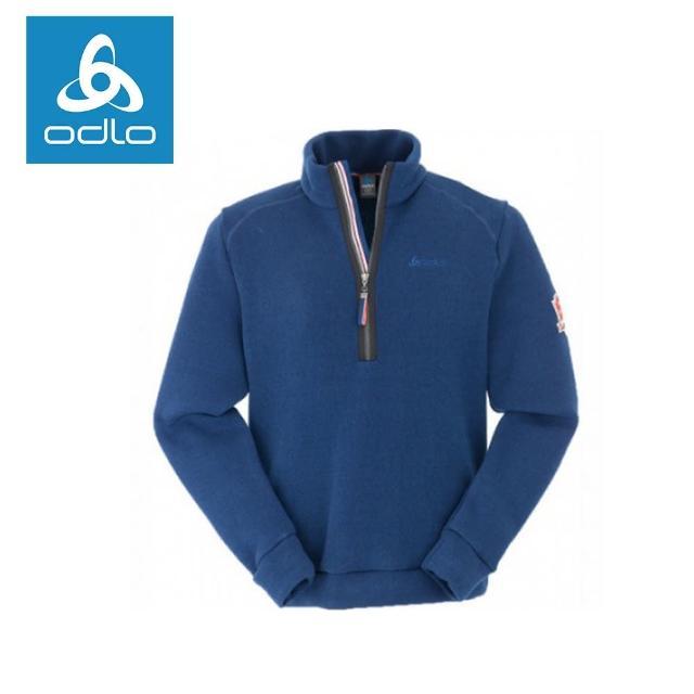【ODLO】男半門襟長袖加厚保暖衫 220592-海軍藍20400