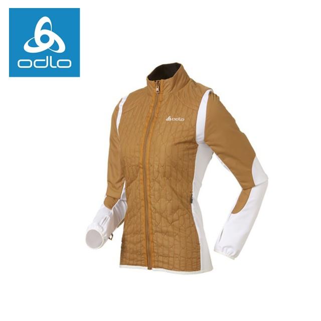 【ODLO】女PRIMALOFT彈性保暖外套522475-土黃/雪白11402