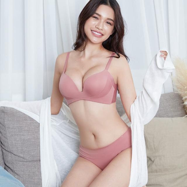 【beaulace 薄蕾絲】裸色甜心 無鋼圈舒適深V成套內衣 玫瑰粉(無鋼圈爆乳深V)