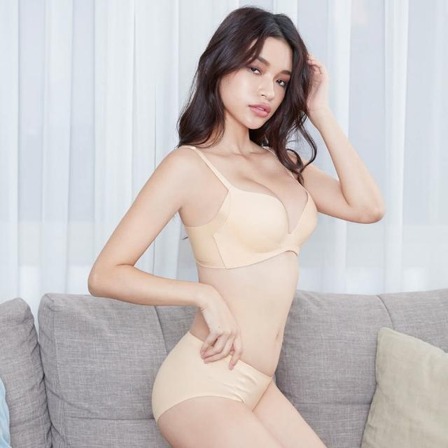 【beaulace 薄蕾絲】裸色甜心 無鋼圈舒適深V成套內衣 奶茶杏(無鋼圈爆乳深V)