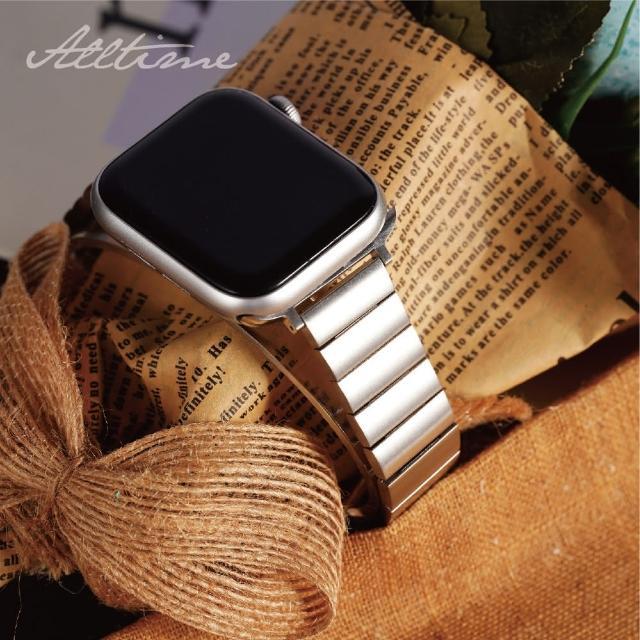 【ALL TIME 完全計時】方塊不鏽鋼錶帶_贈調錶帶工具(Apple watch蘋果錶帶 鋼帶)