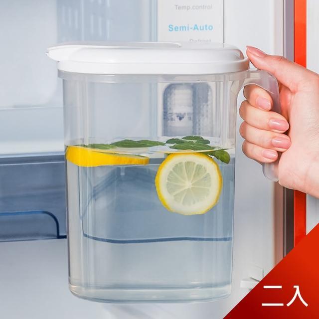 【Dagebeno荷生活】日式簡約PP冷水壺 大容量北歐扁身設計 可放冰箱側門(二入)