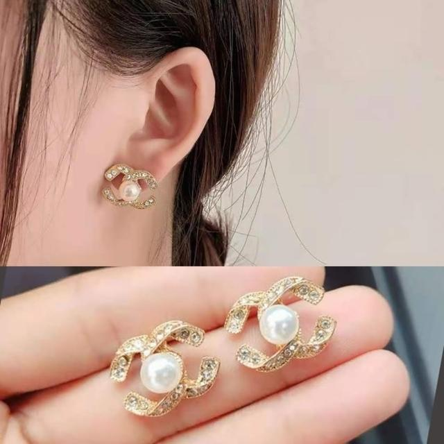 【Emi 艾迷】小香風復古光彩C字綴珍珠925銀針耳環