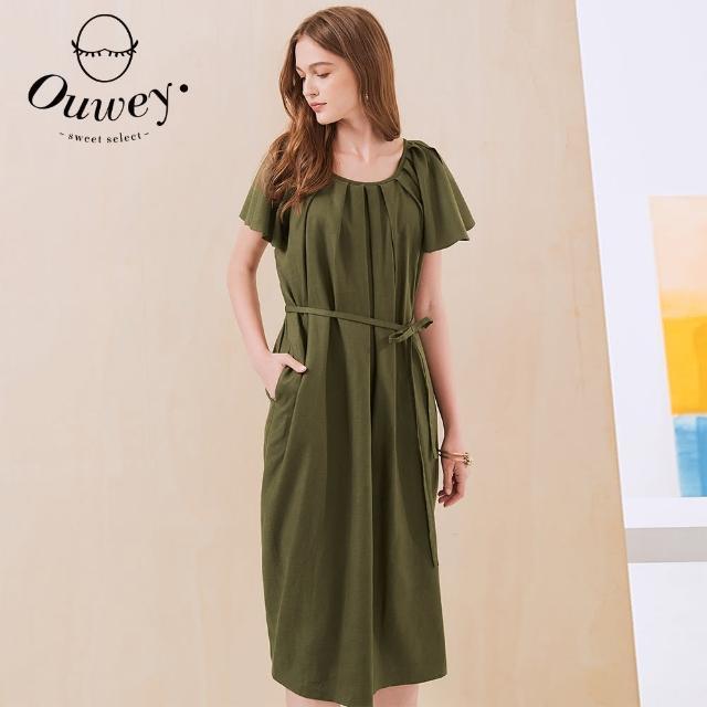 【OUWEY 歐薇】女神級開叉荷葉袖型連身洋裝3212167042(深綠)
