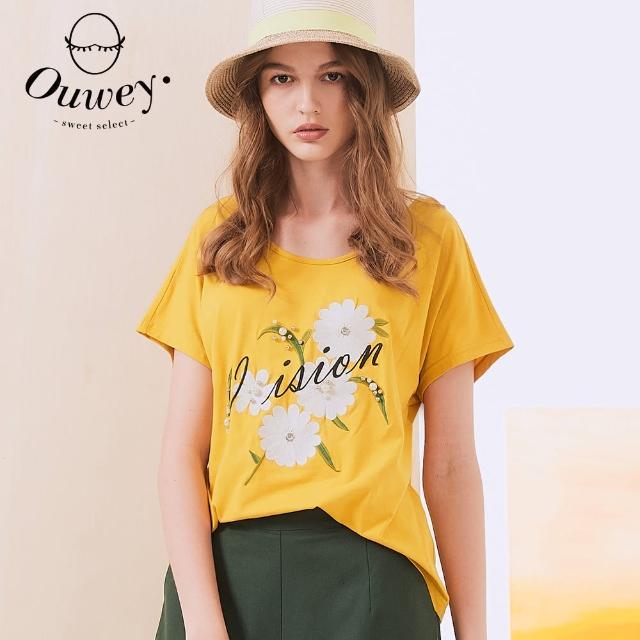 【OUWEY 歐薇】小花字母刺繡美背縷空造型上衣3212061262(黃)