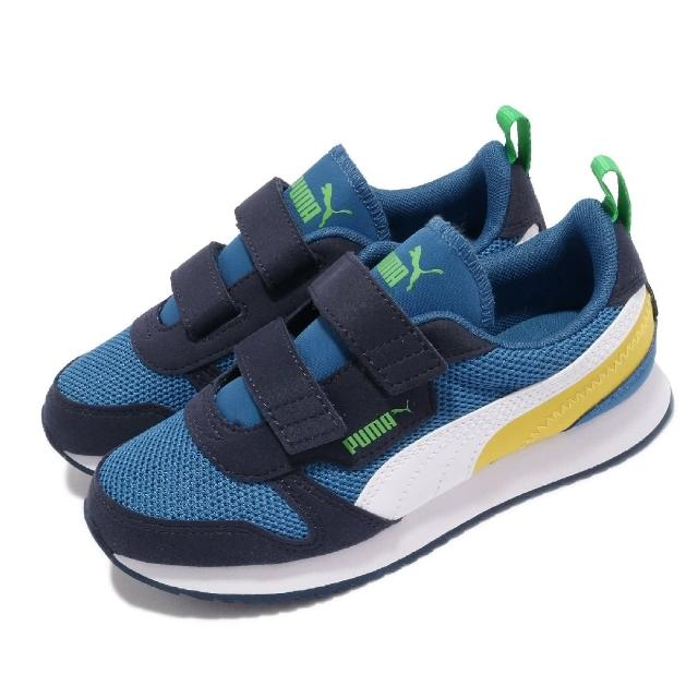 【PUMA】休閒鞋 R78 V PS 魔鬼氈 童鞋 經典 復古 慢跑鞋型 免綁鞋帶 中童 藍 白(373617-13)