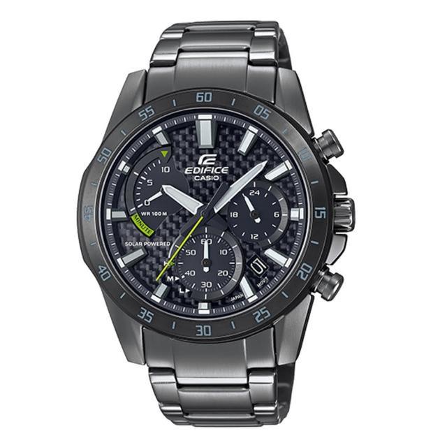 【CASIO 卡西歐】EDIFICE 競速賽車炭纖維錶盤三眼計時太陽能不鏽鋼錶-灰X黑X綠針(EQS-930DC-1A)
