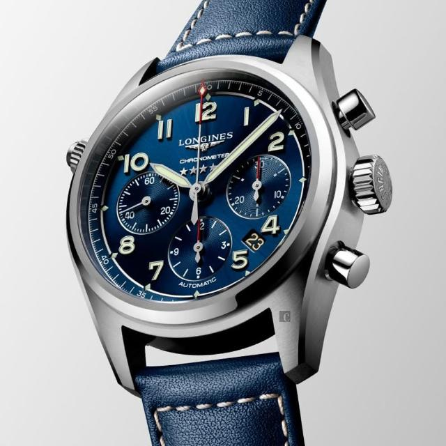 【LONGINES 浪琴】Spirit 先行者系列飛行員計時機械錶-銀X藍/42mm(L38204930)