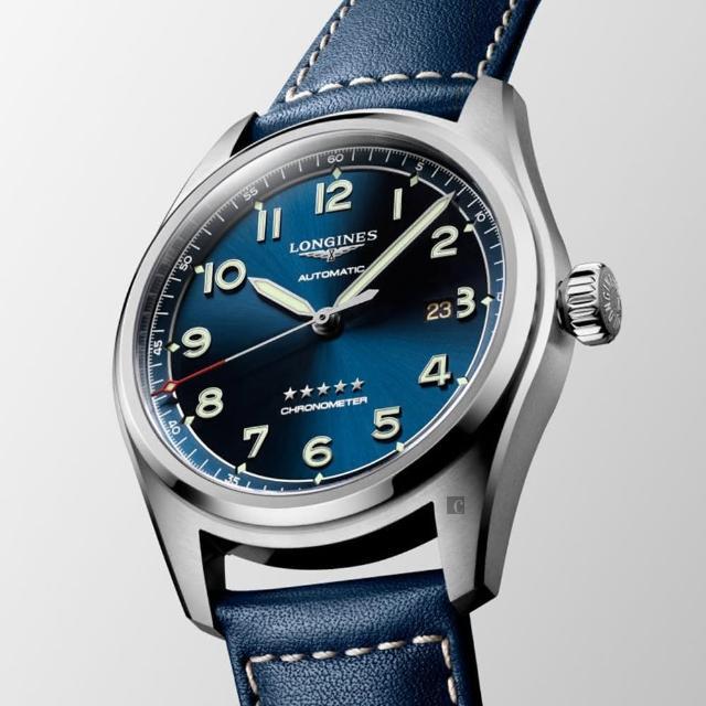 【LONGINES 浪琴】Spirit 先行者系列飛行員機械錶-銀x藍/42mm(L38114930)