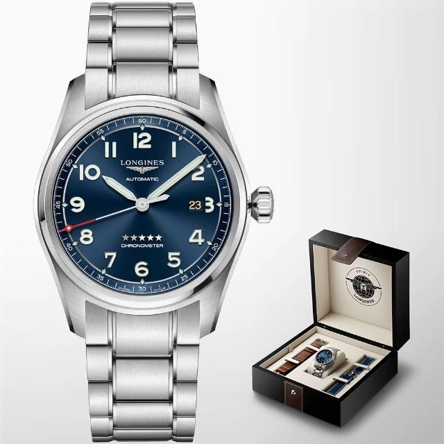 【LONGINES 浪琴】Spirit 先行者系列飛行員機械錶 套錶-42mm(L38114939)