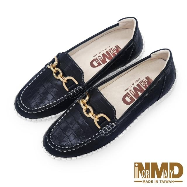 【Normady 諾曼地】女鞋 休閒鞋 懶人鞋 樂福鞋 MIT台灣製 真皮鞋 鍊條款磁力厚底氣墊球囊鞋(經典黑)