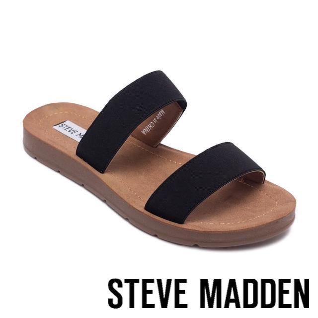 【STEVE MADDEN】POSCALE 彈性帶雙帶涼拖鞋(黑色)