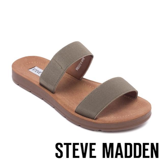 【STEVE MADDEN】POSCALE 彈性帶雙帶涼拖鞋(墨綠色)