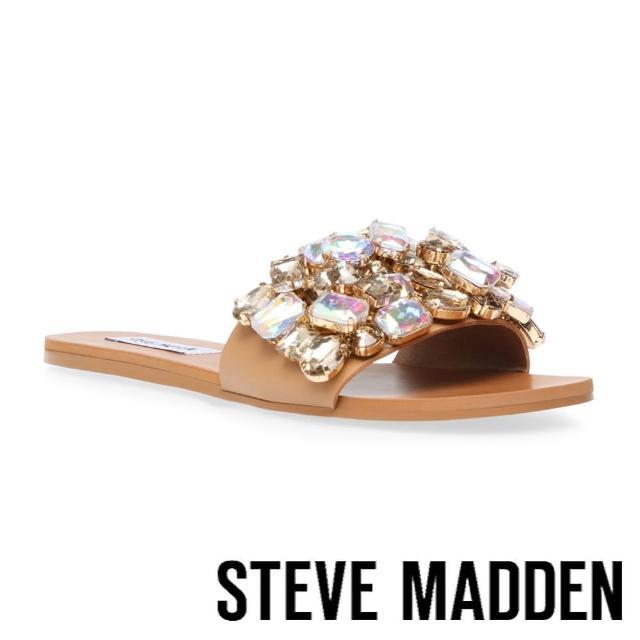 【STEVE MADDEN】BRIELLE 鑽飾平底涼拖鞋(奶茶色)