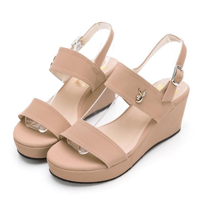 【PLAYBOY】玩美小時光 一字帶楔型增高涼鞋-卡其-YD7323KI