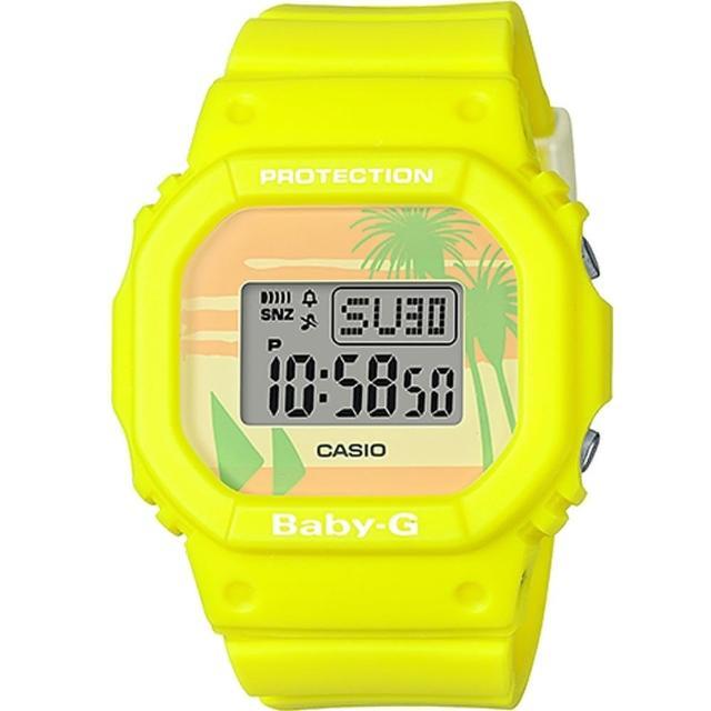 【CASIO 卡西歐】BABY-G 復古夏日海灘風情電子錶-黃(BGD-560BC-9)