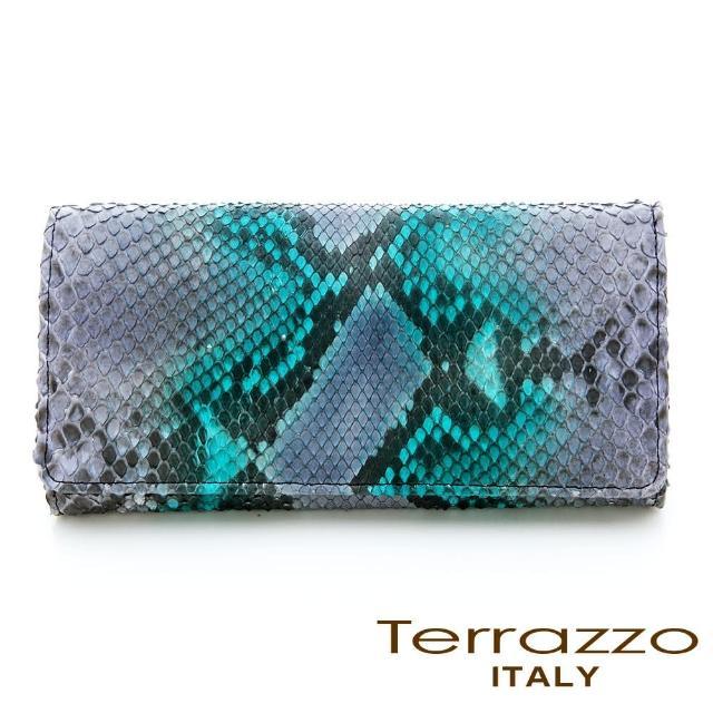 【LouiseC.】Tree House 品牌主打貴氣蟒蛇皮釦式長夾-紫藍色(72P1846C10534)