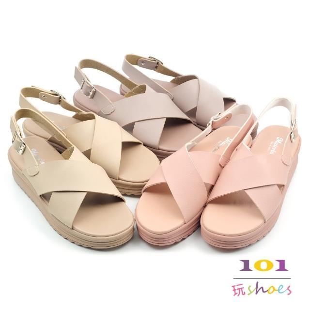 【101 玩Shoes】mit. 涼夏繽紛甜美糖果色系交叉厚底涼鞋(卡其/粉/可可.36-40碼)