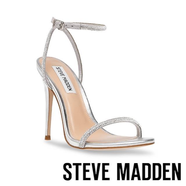 【STEVE MADDEN】BRESLIN 閃耀細帶繞踝高跟涼鞋(星空銀)