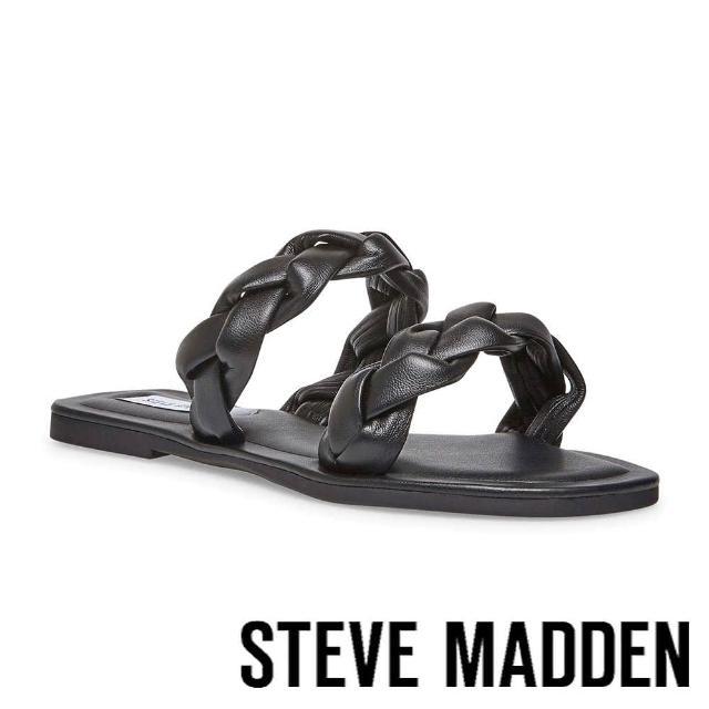 【STEVE MADDEN】ALONNA 麻花編雙帶涼拖鞋(黑色)
