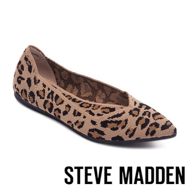 【STEVE MADDEN】ROSY 彈性布尖頭平底鞋(豹紋)
