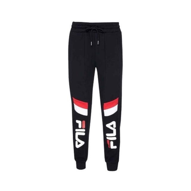 【FILA】男女款黑色針織束口長褲NO.1PNV-1410-BK