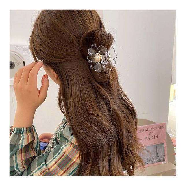 【HaNA 梨花】韓國夏日盤髮祭長短髮用.少女光澤大花朵抓夾