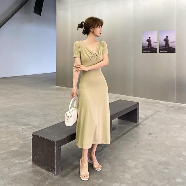 【女神婚紗禮服店】修身針織V領短袖洋裝 提貨券(兩色可選 修身顯瘦)
