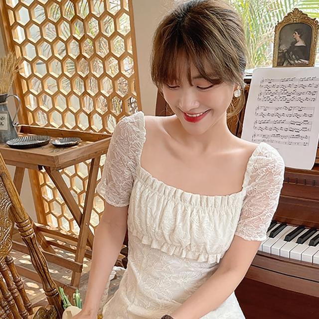 【女神婚紗禮服店】米杏色蕾絲方領短袖洋裝 提貨券(蕾絲洋裝 短袖洋裝 棉製)