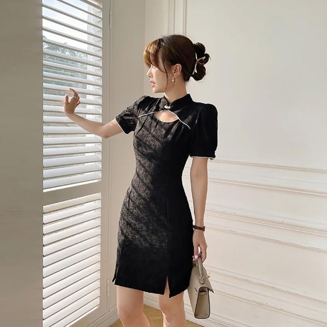 【女神婚紗禮服店】黑色立領短袖改良式旗袍洋裝 提貨券(黑色洋裝 改良式旗袍)