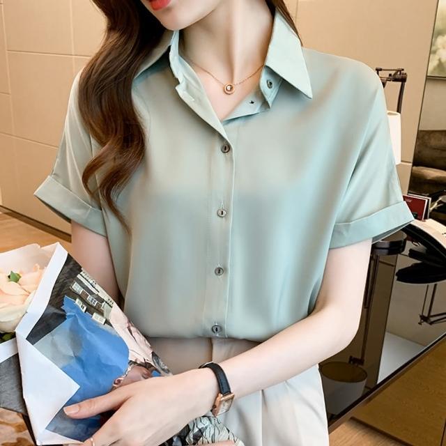 【白色戀人】氣質簡約翻領排釦純色通勤襯衫S-2XL(共四色)