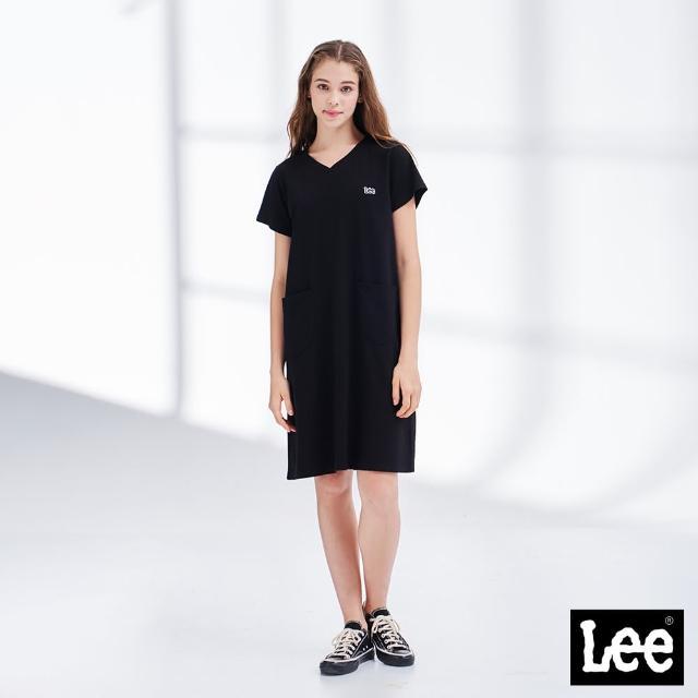 【Lee】居家時尚 V領口袋 女短袖休閒洋裝-氣質黑