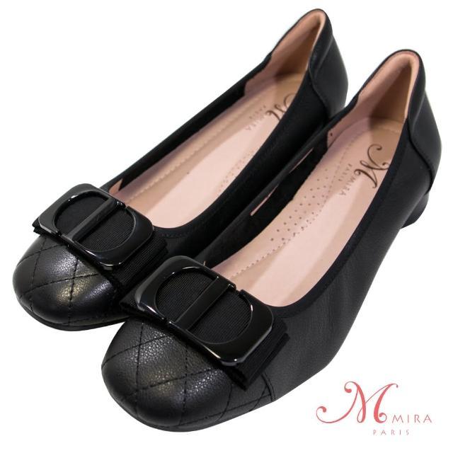 【MIRA】小香風手縫菱格線方頭真皮低跟鞋-黑色-W18472N01(淑女鞋/菱格紋/真皮/小香風)